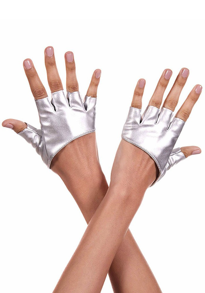 SHORT FAUX LEATHER FINGERLESS GLOVES – SILVER