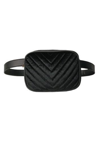 PUNCH - MILA VELVET BELT BAG - BLACK