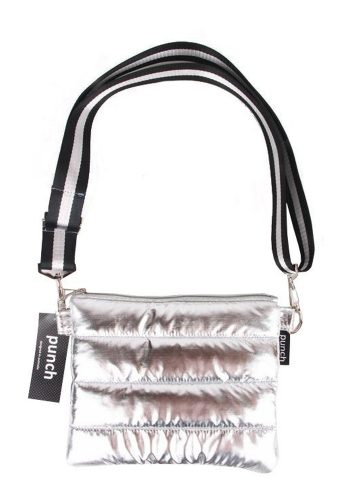 PUNCH - QUILTED PUFFER CROSS BODY BAG - SILVER