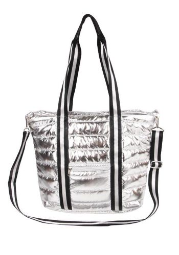 PUNCH - QUILTED PUFFER TOTE - SILVER
