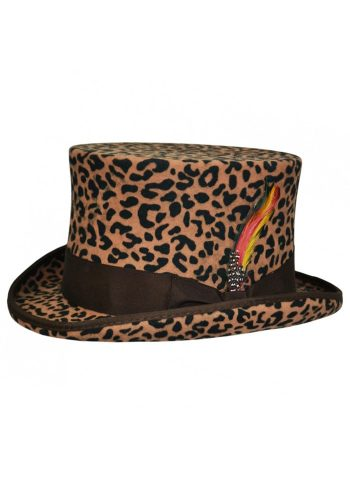 WOOL TOP HAT - LEOPARD