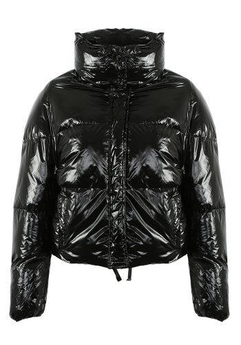BLACK QUILTED CROPPED PUFFA JACKET