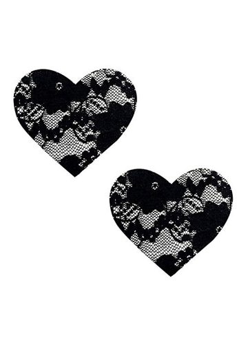 LACE HEART PASTIES - BLACK