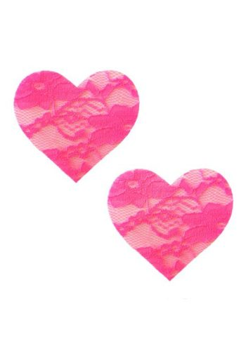 LACE HEART PASTIES - PINK