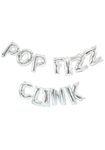 POP FIZZ CLINK BALLOON BUNTING – SILVER