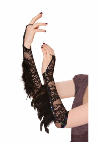 RAVEN LACE AND FEATHER GLOVES - BLACK