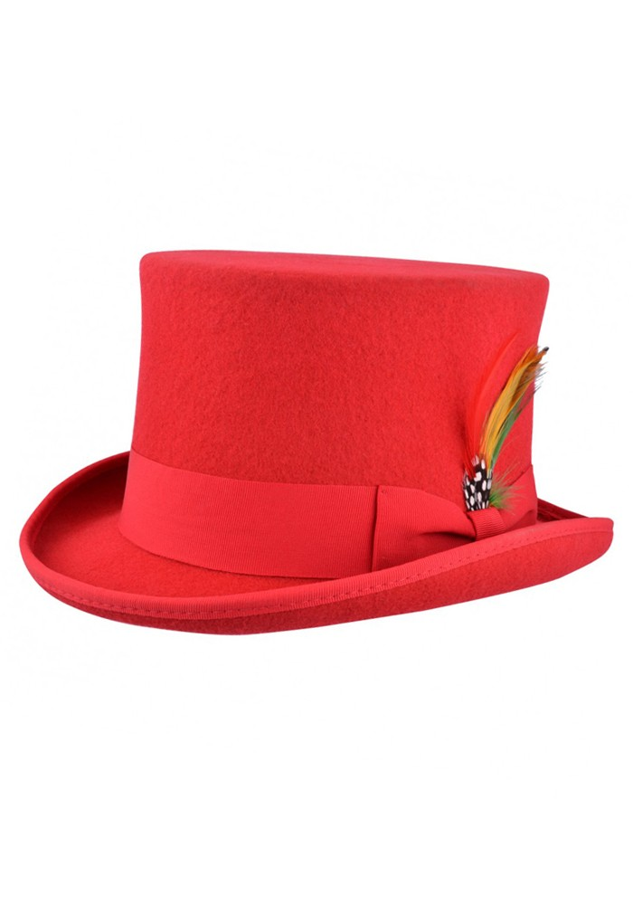 Wool Top Hat – Red