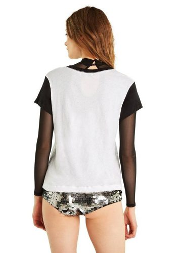 WILDFOX GIRLS CONTRAST No9 TEE - CLEAN WHITE / CLEAN BLACK