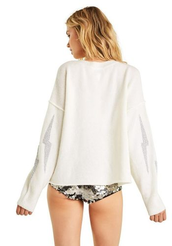WILDFOX LIGHTENING GLORY SWEATER - CLEAN WHITE
