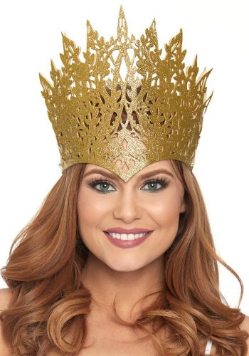 Leg avenue DIE CUT GLITTER CROWN WITH JEWEL - GOLD