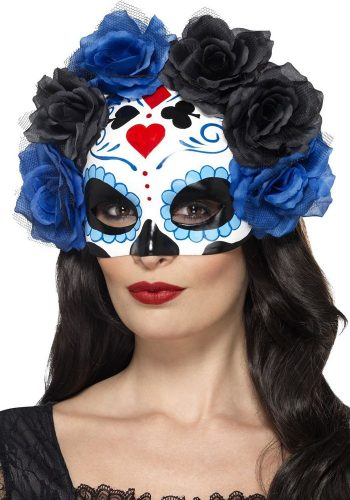 DAY OF THE DEAD HALF FACE MASK - BLUE