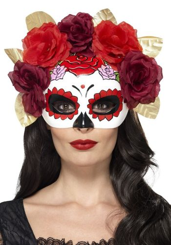 DAY OF THE DEAD HALF FACE MASK - RED