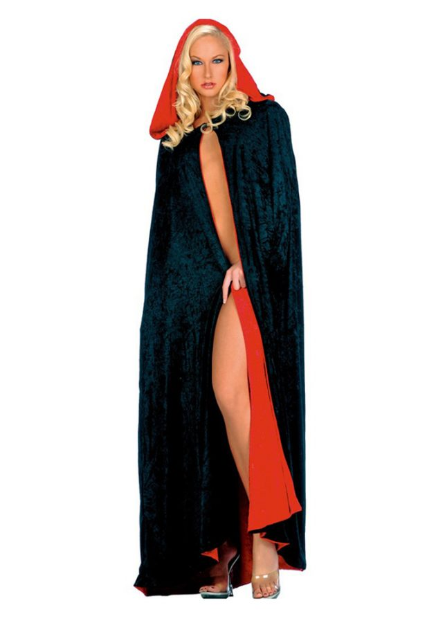 CAPE – REVERSIBLE HOODED – BLK / RED