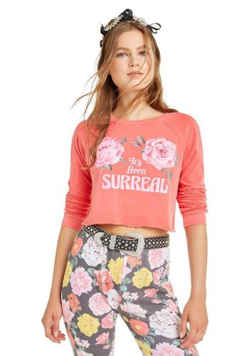 WILDFOX IT'S BEEN SURREAL BEACH HOUSE CROP - PIGMENT SCARLETT