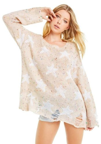 WILDFOX SEEING STARS SWEATER - VINTAGE LACE