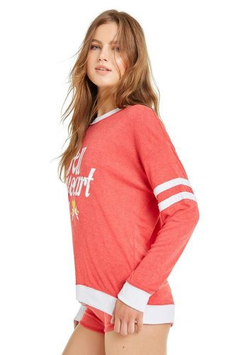 WILDFOX ALL HEART MOONLIGHT SWEATER - SCARLET / CLEAN WHITE