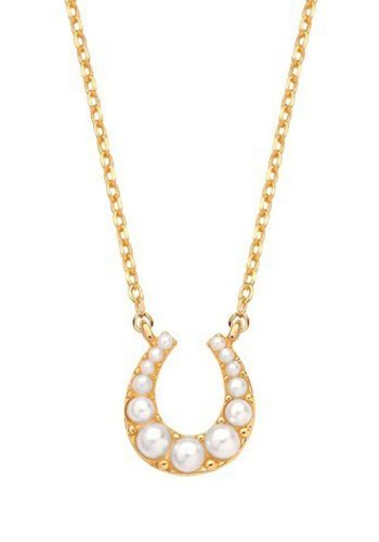 ESTELLA BARTLETT PEAL HORSESHOE NECKLACE - GOLD