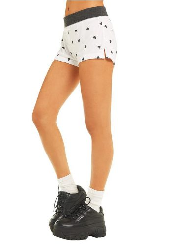 WILDFOX FALLING HEARTS BRITNEY SHORTS - CLEAN WHITE / CLEAN BLACK