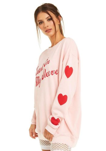 WILDFOX HEART ON MY SLEEVE ROADTRIP SWEATER - TRUE ROMANTIC