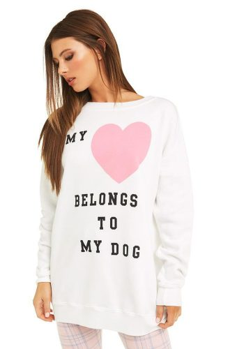 WILDFOX HEART TO MY DOG ROADTRIP SWEATER - CLEAN WHITE