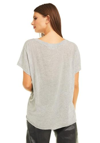 WILDFOX SEDUCE ME ROMEO V NECK TEE - TRUE HEATHER
