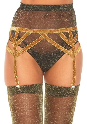 LEG AVENUE LUREX ELASTICATED GARTER - GOLD