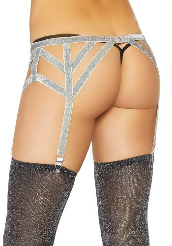 LEG AVENUE LUREX ELASTICATED GARTER BELT - SILVER