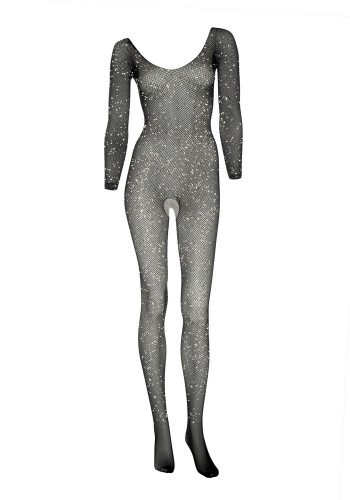LEG AVENUE FISHNET SLEEVED DIAMANTE BODYSUIT