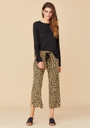 LNA CLOTHING BRUSHED LEOPARD KISMET PANT - LEOPARD