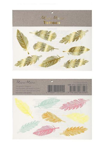 MERI MERI GOLD & NEON FEATHER TATTOOS