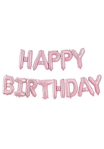 GINGER RAY HAPPY BIRTHDAY BALLOON BUNTING - MATTE PINK