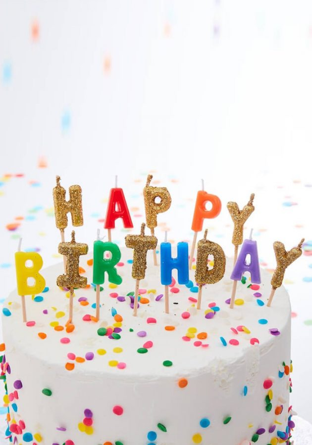 GINGER RAY HAPPY BIRTHDAY CANDLES – RAINBOW & GOLD GLITTER