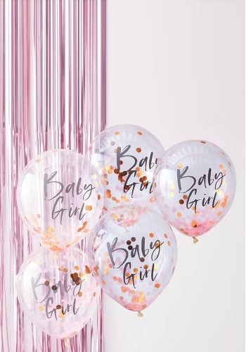 GINGER RAY BABY GIRL CONFETTI BALLOONS - PINK