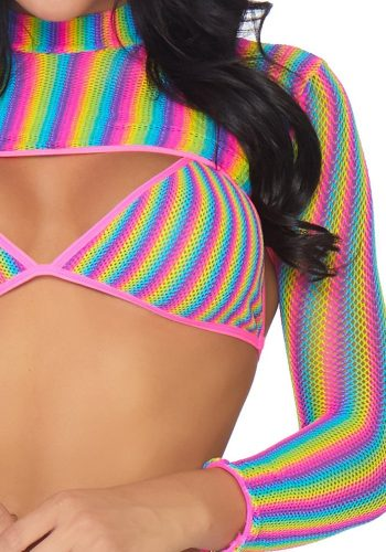 LEG AVENUE FISHNET TOP SET - RAINBOW
