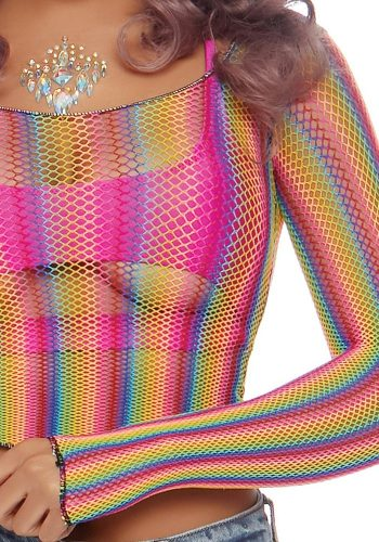 LEG AVENUE RAINBOW FISHNET CROP TOP