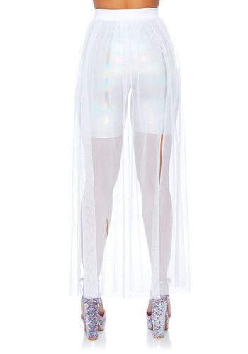 Leg Avenue MULTI SLIT SHEER SKIRT WHITE