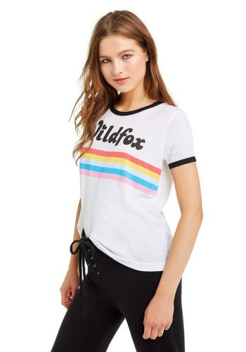 WILDFOX STRIPED WILDFOX JOHNNY RINGER TEE - CLEAN WHITE