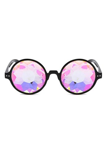 ROUND KALEIDOSCOPE GLASSES – BLACK