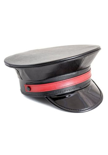 FESTIVAL POLICE HAT - MATT BLACK WITH RED