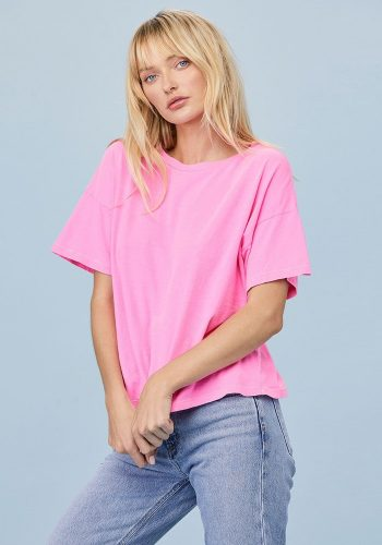 LNA CLOTHING BOXY V NECK TEE - NEON PINK