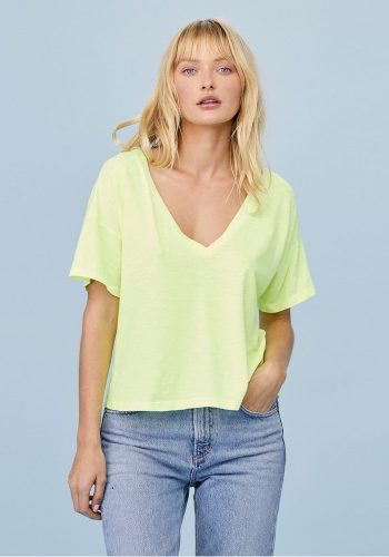 LNA CLOTHING BOXY V NECK TEE - NEON YELLOW