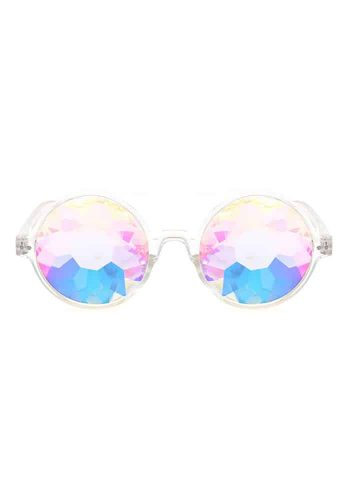 ROUND KALEIDOSCOPE GLASSES - TRANSPARENT