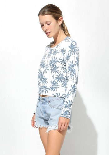 SUNDRY PIGMENT PALM TREE CROPPED SWEATSHIRT - WHITE / BLUE
