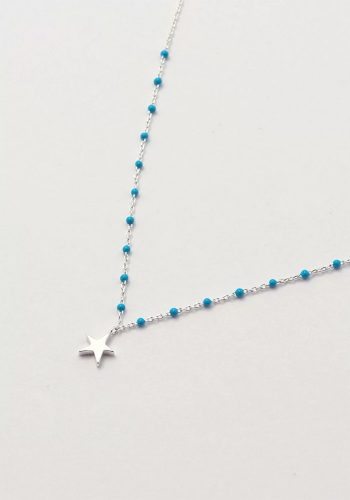 ESTELLA BARTLETT KUSAMA DOT NECKLACE - SILVER PLATED - BLUE