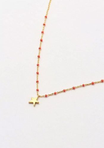 ESTELLA BARTLETT KUSAMA NECKLACE - GOLD PLATED - ORANGE