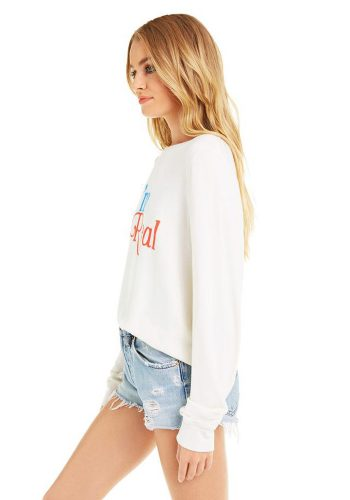 WILDFOX I'M REAL BAGGY BEACH JUMPER - VINTAGE LACE