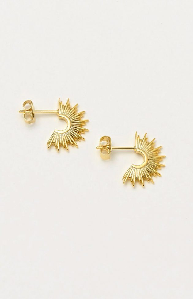 ESTELLA BARTLETT SUNBURST HOOP EARRINGS – GOLD PLATED