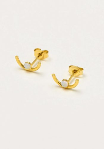 ESTELLA BARTLETT HALF MOON MINI GEM EARRINGS - GOLD PLATED