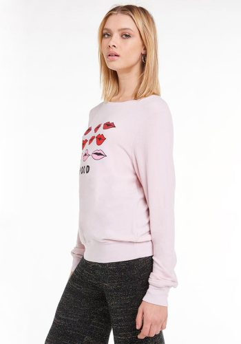 WILDFOX MOODY LIPS BAGGY BEACH JUMPER - ROSE