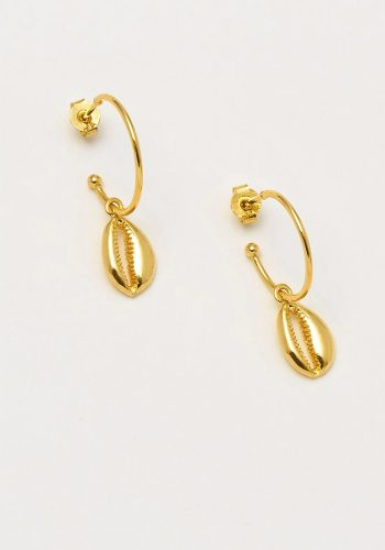 ESTELLA BARTLETT SHELL DROP HOOP EARRINGS - GOLD PLATED